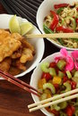 Vegetarian chinese dishes Stock Photos