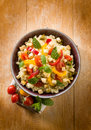Vegetarian couscous tofu capsicum tomatoes mint capers Stock Photos