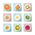 Vegetarian cuisine. Flat icons in color Royalty Free Stock Photos