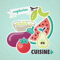 Vegetarian cuisine vintage background fruit and vegetables Stock Images