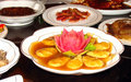 Vegetarian dishes on festive table in chinese buddhist monastery Royalty Free Stock Photo