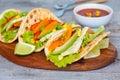 Vegetarian fajitas with tofu and vegetables. Royalty Free Stock Photo
