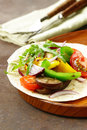 Vegetarian fajitas wheat tortilla with grilled vegetables Royalty Free Stock Photo