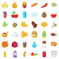 Vegetarian food icons set, cartoon style