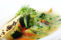 Vegetarian gourmet soup from season vegetables Royalty Free Stock Photo