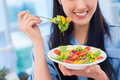 Vegetarian happiness close up of a happy having a salad dish for lunch Royalty Free Stock Photography