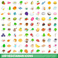 100 vegetarian icons set, isometric 3d style