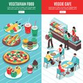 Vegetarian Isometric Vertical Banners Royalty Free Stock Photo