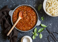 Vegetarian lentil bolognese sauce in a frying pan Royalty Free Stock Photo