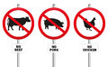 Vegetarian meatless prohibition sign no beef pork and chicken three prohibitory signs with crossed out pig cow and hen a symbol Stock Image