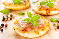 Vegetarian mini pizzas homemade served on a wooden board Stock Image