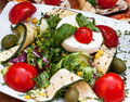 Vegetarian mozzarella salad served at italian restaurant Royalty Free Stock Photos