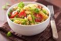 Vegetarian pasta fusilli with tomato peas herbs Royalty Free Stock Photo