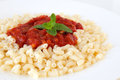 Vegetarian pasta gomito with tomato sauce Stock Photography