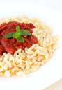 Vegetarian pasta gomito with tomato souce Royalty Free Stock Photography