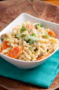 Vegetarian pasta with seasonal vegetables Royalty Free Stock Photo