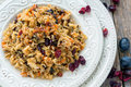 Vegetarian pilaf from a mixture of wild and white rice. Royalty Free Stock Photo