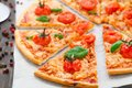 Vegetarian pizza with cherry tomatoes delicious basil Royalty Free Stock Photography