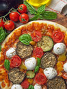 Vegetarian pizza with fresh organic vegetables Stock Photo