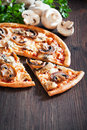 Vegetarian pizza with mushrooms selective focus Stock Image