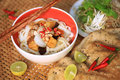 Vegetarian quang style noodle mì quảng also spelled my quảng literally quảng is a vietnamese dish that originated from Royalty Free Stock Photo
