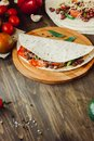 The vegetarian quesadilla - traditional mexican food. Royalty Free Stock Photo