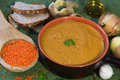 Vegetarian red lentil soup home made with ingredients Stock Images