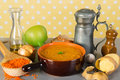 Vegetarian red lentil soup home made with ingredients Royalty Free Stock Photo