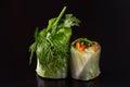 Vegetarian rolls with vegetables