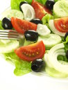 Vegetarian salad closeup of greek with olives Stock Photography