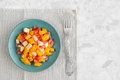 Vegetarian salad of mango, mozzarella and tomato. Top view Royalty Free Stock Photo