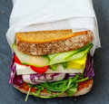 Vegetarian sandwich with feta cheese Royalty Free Stock Photo