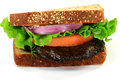 Vegetarian Sandwich with Grilled Mushroom. Stock Photography