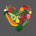 Vegetarian set on wood background vector Royalty Free Stock Photos
