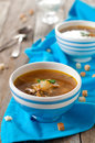 Vegetarian soup with mushroom selective focus Stock Photo