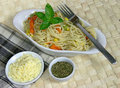 Vegetarian Spaghetti with sweetcorn and carrots Stock Photo
