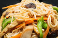 Vegetarian stir fry noodle plate macro shot Royalty Free Stock Photos