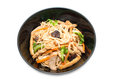 Vegetarian stir fry noodle plate on white background Stock Photo