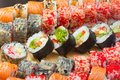 Vegetarian sushi roll with made dish on background Stock Photos