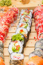 Vegetarian sushi roll with sushi made dish on background Stock Image