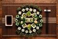 Vegetarian sushi set. Japanese cuisine, food art. Royalty Free Stock Photo