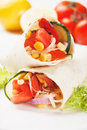 Vegetarian tortilla wraps Stock Images