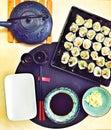 Vegetarian vegan sushi meal plater sake soy sauce and ginger Royalty Free Stock Images
