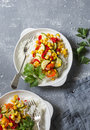 Vegetarian vegetable fajitas rice bowl on the gray table, top view. Healthy diet food Royalty Free Stock Photo