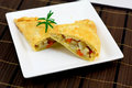 Vegetarian version cornish pasty white plate Stock Photo