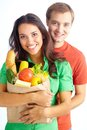 Vegetarians happy couple of healthy eating followers looking at camera Stock Photos