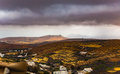 Vegetation fields of lanzarote photography and residence areas on canary islands spain Stock Photography
