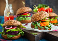 Veggie beet and carrot burgers with avocado Stock Images