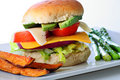 Veggie burger with sweet potato fries Royalty Free Stock Photography