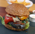 Veggie burger with vegetables fries sauce Royalty Free Stock Photography